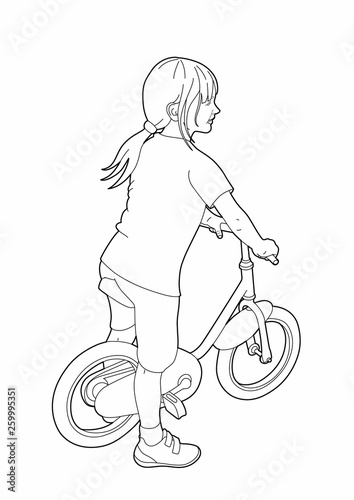 Drawing Of A Little Girl On A Bicycle Stock Image And Royalty Free