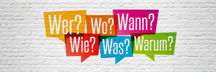 Obraz W-Fragen: wer, wie, was, wo, wann, warum - fototapety do salonu