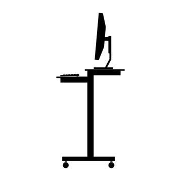 Mobile stand up (standing) computer desk, workstation - Vector