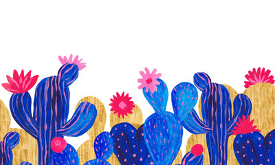 Banner Hand painted set of decorative cactus in fantasy style Set of flowering plants, cactus blue coral color