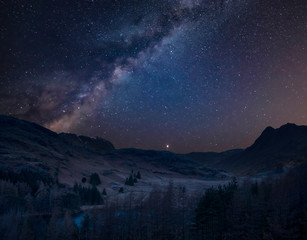 Digital composite image of Milky Way over beautiful landscape image of Blea Tarn in UK Lake District