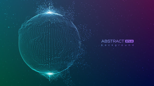 Abstract globe particles sphere with explosion effect. 3d technology digital style. Space background. Futuristic vector illustration.