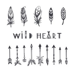 Boho style vector collection for tattoo, icon, flyers,cards with feathers,arrows. Bohemian tribal set