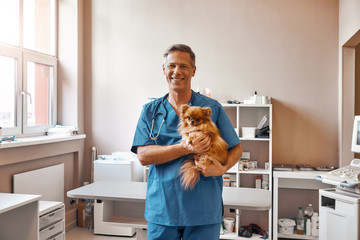 I love my patients! Cheerful male vet in work uniform is holding little cute dog and smiling at camera while standing at veterinary clinic.