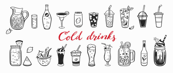 Fototapeta Vector hand drawn set of Cold drinks, summer cocktails and beverages with fruits. Various doodles for beach party, bar, restaurant menu. Isolated objects obraz