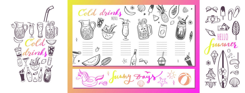 Restaurant and bar vector menu template with hand drawn illustrations. summer cocktails and beverages. Various doodles for beach party, bar, cafe menu