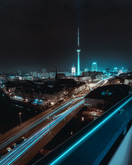 Futuristic & surreal city night scape of Berlin