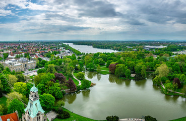 Aerial view of Maschsee in Hannover, Germany