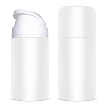 Shave Foam Dispenser Bottle. Cream Can Aluminum. Face Grooming Product. Isolated Tube Template. Shiny Realistic Product.