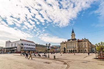 Novi Sad, Serbia April 06, 2019: Freedom Square (serbian: Trg slobode) is the main square in Novi Sad. The photo shows County government office (City house) and monument of Svetozar Miletic.