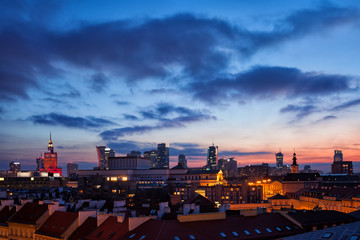 City of Warsaw Downtown Skyline at Dusk