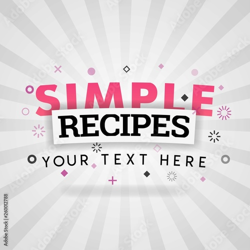 Pink logo for simple recipes  for recipe websites, food blog, today