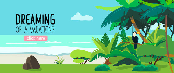 Vector illustration of a tropical forest and a seacoast. Exotic plants drawing with a toucan in the bushes. Creative banner or landing page or flyer for travel agency or tour operator. Summer theme.