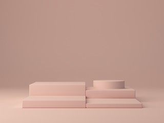 Pink shapes on pastel colors abstract background. Minimal boxes and a cylinder podium. Scene with geometrical forms. Empty showcase for cosmetic product presentation. Fashion magazine. 3d render.