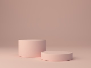 Pink shapes on pastel colors abstract background. Two minimal cylinder podium. Scene with geometrical forms. Empty showcase for cosmetic product presentation. Fashion magazine. 3d render.