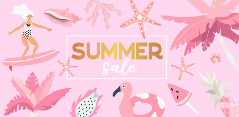 Vector illustration of palm trees,surfer girl, sea shells and exotic fruits in gold and pink color. Summer sale banner, landing page or flyer that can also be used for travel agency or tour operator.