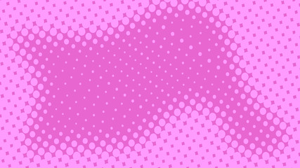 Abstract concept pink and magenta pop art background with retro haftone dots design. Vector comic template for empty bubble, sale banner, illustration comic book design.