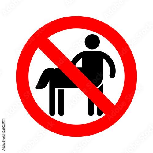 Stop Centaur  Red prohibitory sign Half man half horse  Ban