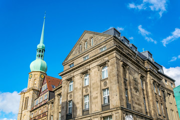 Reinoldi church and facades of old houses on Markt square at Dortmund, Germany