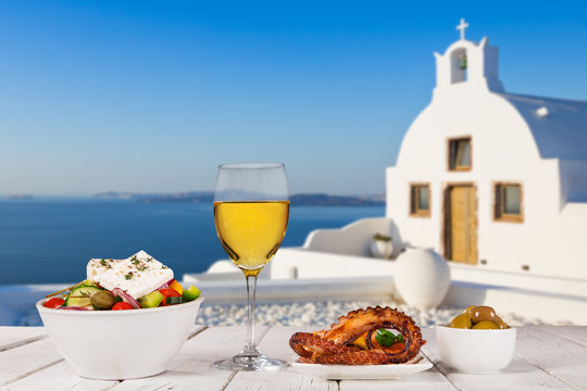Greek food background. Traditional different greek dishes.
