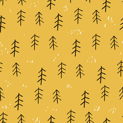 Forest seamless pattern. Scandinavian style. Vector illustration. Summer. Autumn.