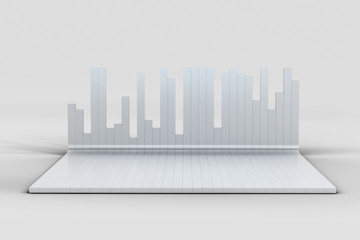3d rendering, graph chart background, business graph