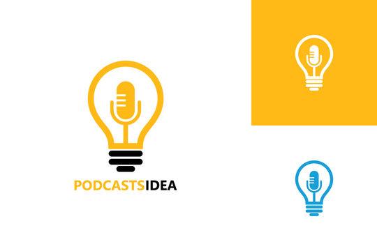 Podcast Idea Logo Template Design Vector, Emblem, Design Concept, Creative Symbol, Icon