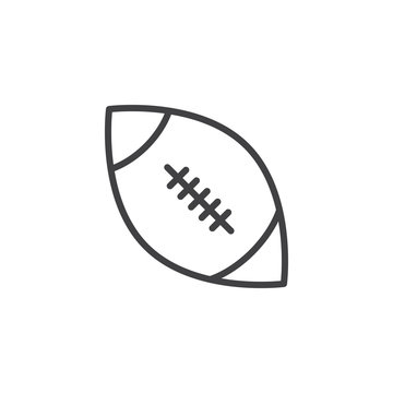 Rugby ball line icon. linear style sign for mobile concept and web design. American football ball outline vector icon. Symbol, logo illustration. Pixel perfect vector graphics
