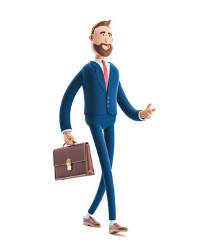 3d illustration.Businessman Billy with a case walking.