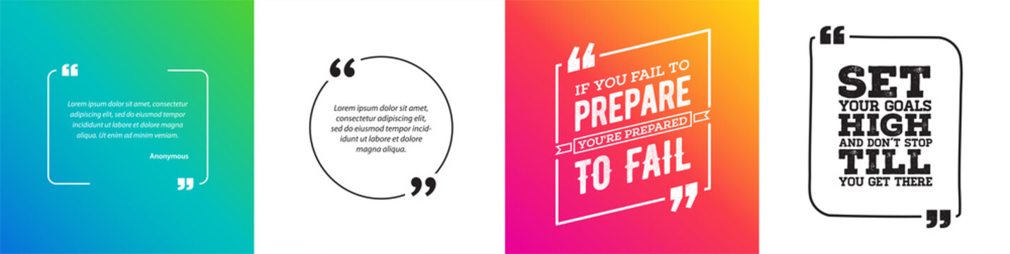 Remark Quote Template Bubble with Vivid Background. Citation Template Vector Set. T-shirts, Posters, Cards.