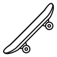 Side modern skateboard icon. Outline side modern skateboard vector icon for web design isolated on white background
