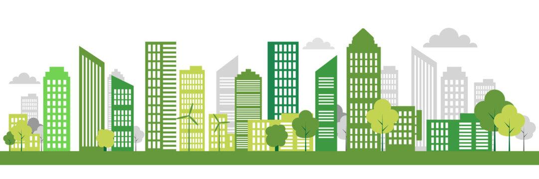 Green Eco city living concept. Vector illustration. Green city, wind turbine vector illustration