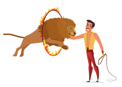 Lion tamer flat color vector illustration