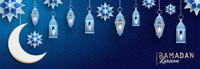 Ramadan Kareem concept horizontal banner with islamic geometric patterns. Arabesque, traditional lanterns, crescent and stars on dark blue night sky background. Vector illustration.