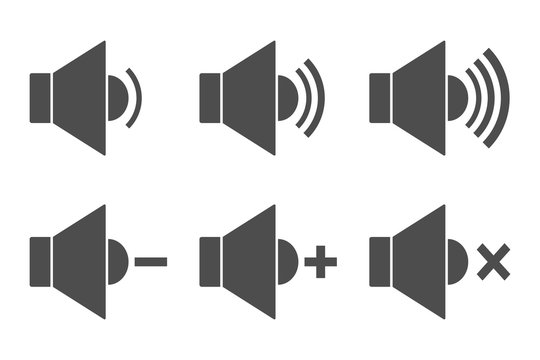 SOUND remote control buttons. Icon set. Vector.