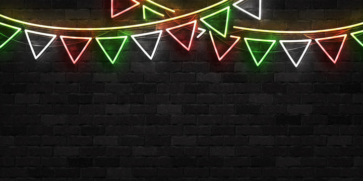Vector realistic isolated neon sign of Cinco De Mayo party flags template for invitation covering on the wall background. Concept of Viva Mexico.