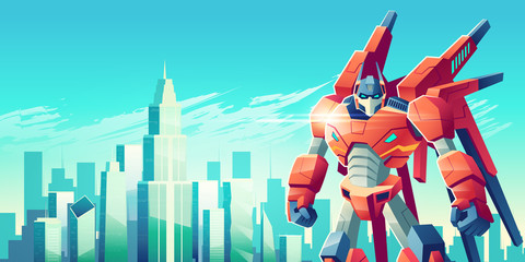 Powerful transformer robot warrior standing with clenched fists on background of modern city skyscrapers towers cartoon vector illustration. Alien soldier protecting metropolis concept with copyspace