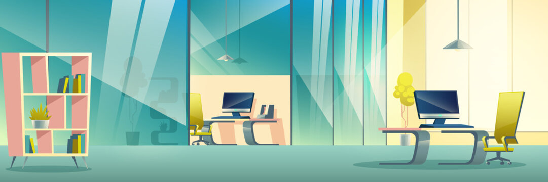 Modern company spacious office interior cartoon vector. Boss, business team leader or manager workplace with glass partition or wall, computer on desk, comfortable armchair and bookshelf illustration