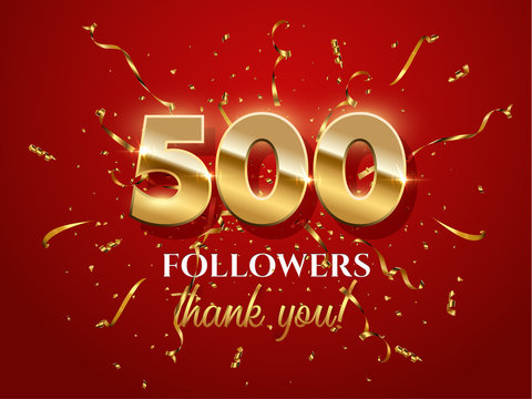 500 followers celebration vector banner with text