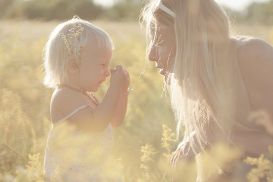 child with grandmother in the meadow