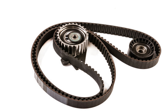 Brand new Timing Belt set isolated above white background.