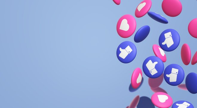 The 3d rendering Thumbs up and heart social media icon.