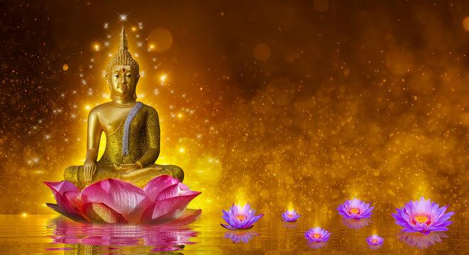 Buddha statue water lotus Buddha standing on lotus flower on orange background