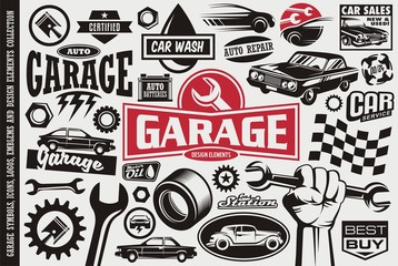 Car service and garage symbols, logos, emblems and icons collection. Auto transportation cars icons set. Car sales, repair, race, road, auto parts design elements.