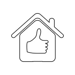 house with a raised finger icon. Element of zoo for mobile concept and web apps icon. Outline, thin line icon for website design and development, app development