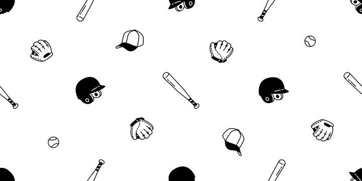 baseball Seamless pattern vector soft ball glove helmet cap sport tile background scarf isolated repeat wallpaper