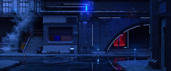 3d illustration of an old building on a street of futuristic city. Beautiful night scene with neon lights in cyberpunk style. Gloomy urban landscape. Fotomurales