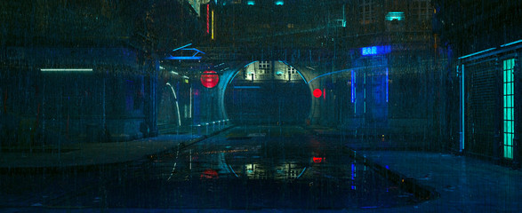 Futuristic city landscape. Rainy night scene. Photorealistic 3d illustration of the cityscape in the style of cyberpunk. Empty street with neon lights reflected on the wet pavement. Fotomurales