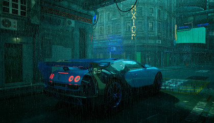 Fotomurales - Futuristic city landscape with neon lights. Rainy scene in the style of cyberpunk. Photorealistic 3d illustration. Sports car in the street in the rain. Grunge wallpaper.