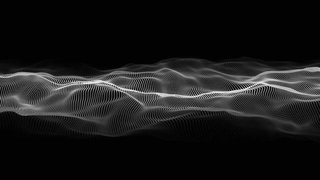 Wave of particles. Futuristic point wave. Vector illustration. Abstract background with a dynamic wave. Wave 3d
